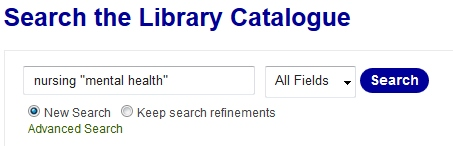 Nursing search example [Source: UniSA Library catalogue]