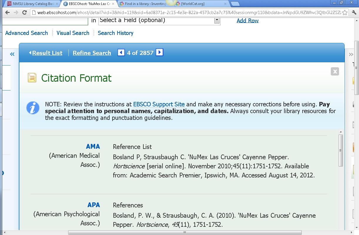 asp citation styles