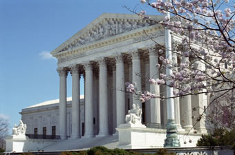 West view of the Supreme Court Bldg, with cherry blossoms