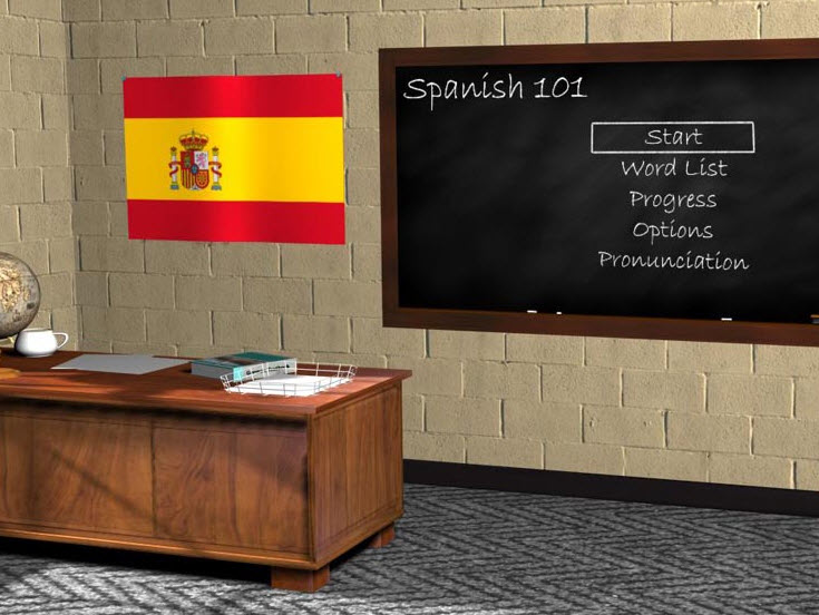 Image of a classroom with a Spanish flag and a blackboard statign Spanish 101