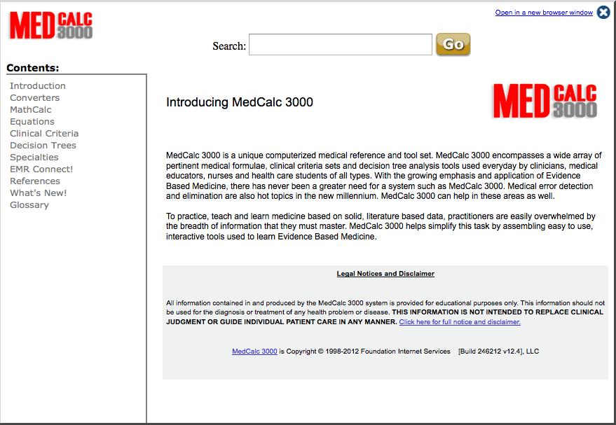 MedCalc 3000 screenshot
