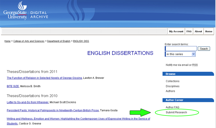 Digital Archive @ GSU English Dissertations screen shot http://digitalarchive.gsu.edu/english_diss/