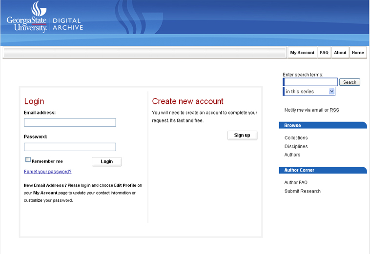 Digital Archive @ GSU Submit Research screen shot