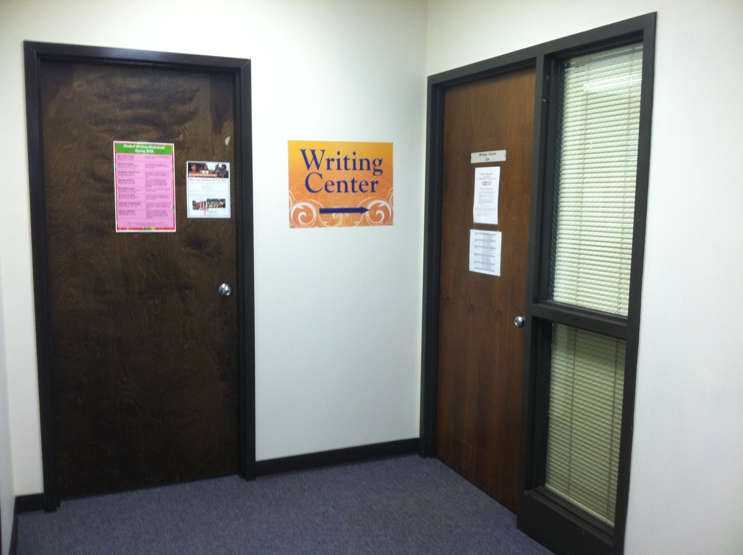 The Writing Center entrance is on the 2nd floor of the LRC, room 214.