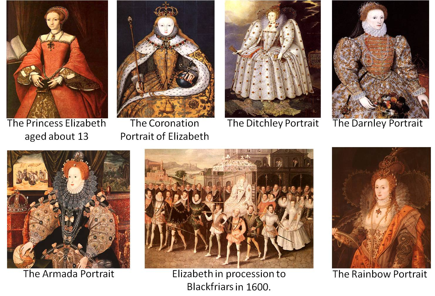 These portraits can be found at http://tudorhistory.org/elizabeth/gallery.html