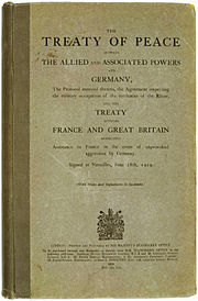 Image of the cover of the Treaty of Versailles that ended the First World War
