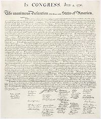 Image of the Declaration of Independence of 1776, from the National Archives site