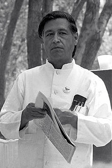 Photograph of Cesar Chavez in 1974, the founder of the United Farmworkers of America union