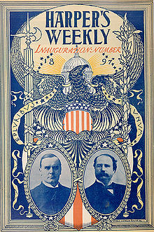 Cover of the first issue of the journal Harper's Weekly, naugural issue of Harper's Weekly from March 13, 1897, with the new U.S. president William McKinley on the cover