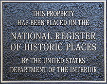 National Register of Historic Places plaque