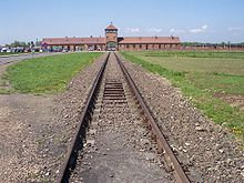 The railroad tracls leading to the concentration camp Auschwitz II (Birkenau).