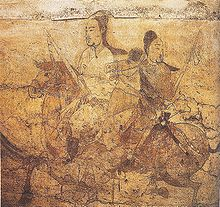 Horse riders on the wall of a Chinese tomb dating to about 550 AD