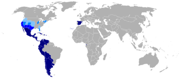 World map showing countries were Spanish is the official language.