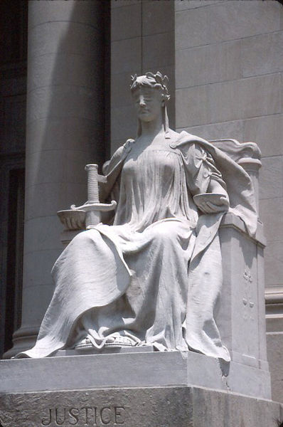 "A sculpture called ""Lady Justice,"" that sits in front of the Shelby County Courthouse in Memphis, Tennessee."