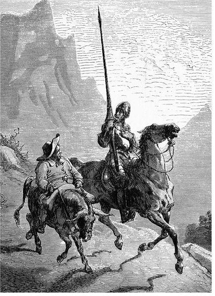 Illustration of Don Quioxte de la Mancha and his faithful companion, Sancho Panza.