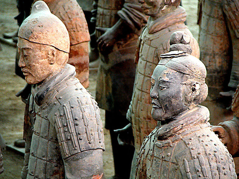 Photograph of several of the thousands of life-size Terracota Warriors of the Qin Dynasty, ca. 210 B.C., China