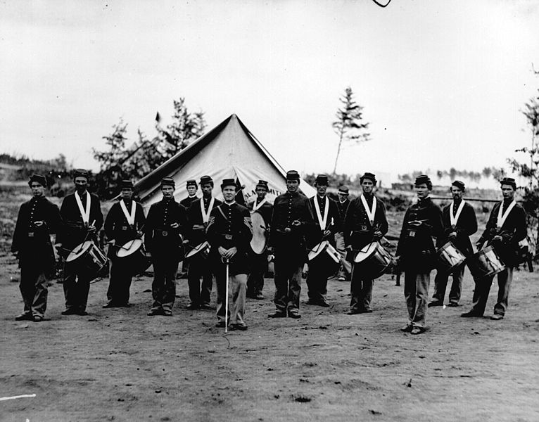Historical photograph of a Union Army Drum Corps during the American Civil War