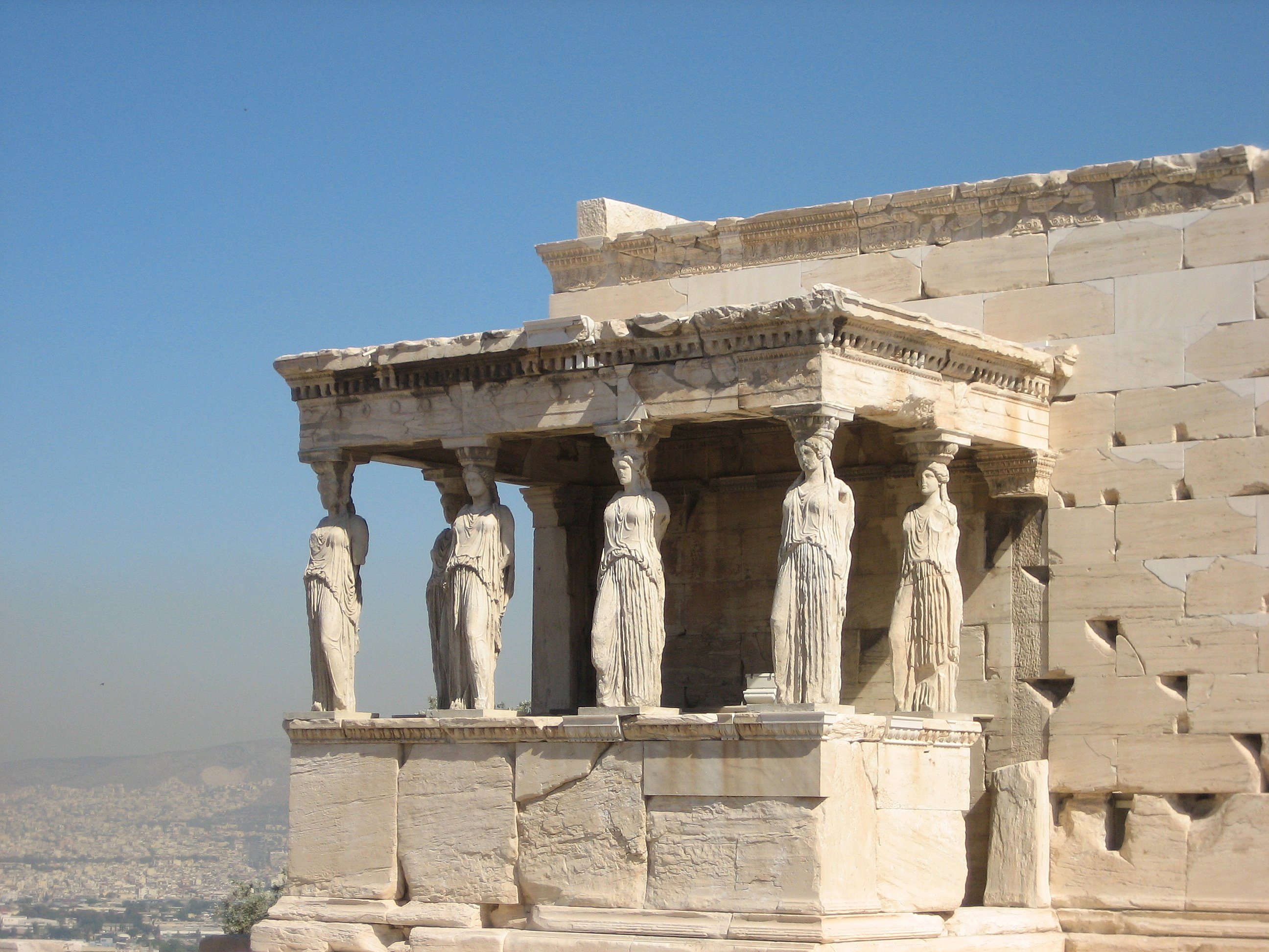 Photograph of the Caryatid Porch of the Erechtheion on the Acropolis in Athens, Greece