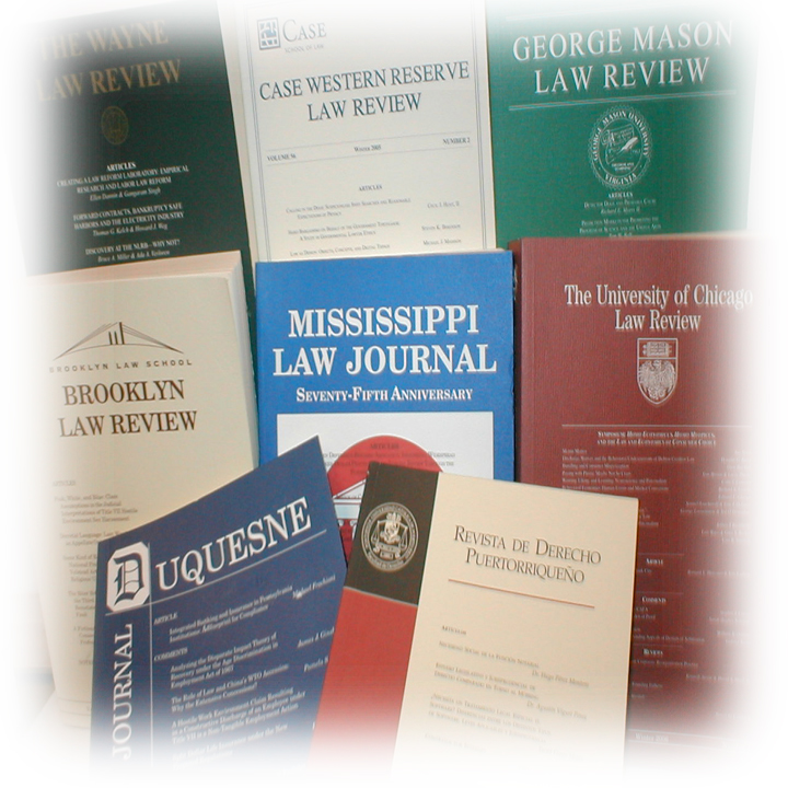 Photograph of numerous law review journals.