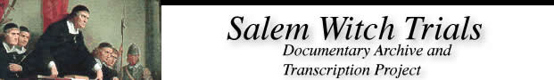 Image and link to the Salem Witch Trials web site at the University of Virginia.