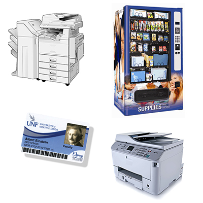 copy machine, printer, vending machine, and Osprey Card