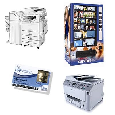 copy machine, printer, vending machine, and Osprey Card