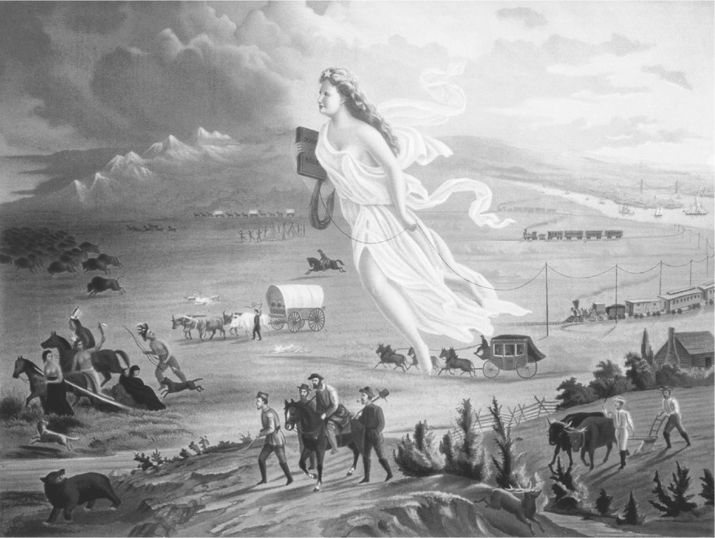 A black and white painting of an angelic woman hovering over settlers as they head west