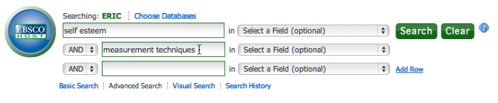 Screen Capture from an ERIC database search. The phrase being searched is Self Esteem, and the second set of terms is Measurement Techniques.