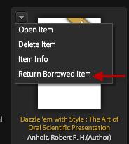 Picture of Adobe Digital Editions menu showing Return Borrowed Item
