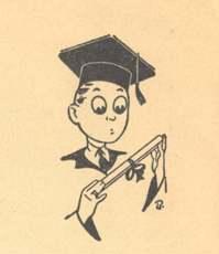 Cartoon of a graduate holding a diploma