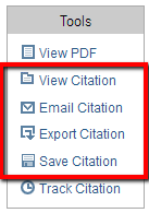 "image of a list of tools where ""view citation"", ""email citation"", ""export citation"", and ""save citation"" all have a red box around them"