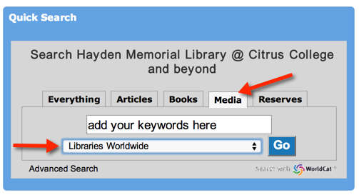 Image of Media search from library website homepage.