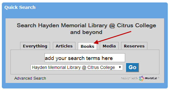 Quick Search box using the print tab from library homepage