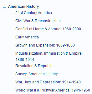 American History categories