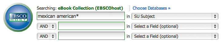 EBSCO Subject search: Mexican american*