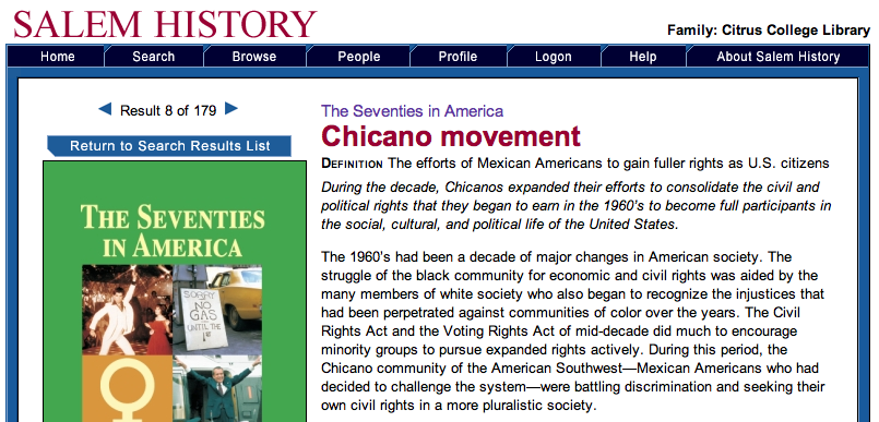 Sample article: Chicano Movement