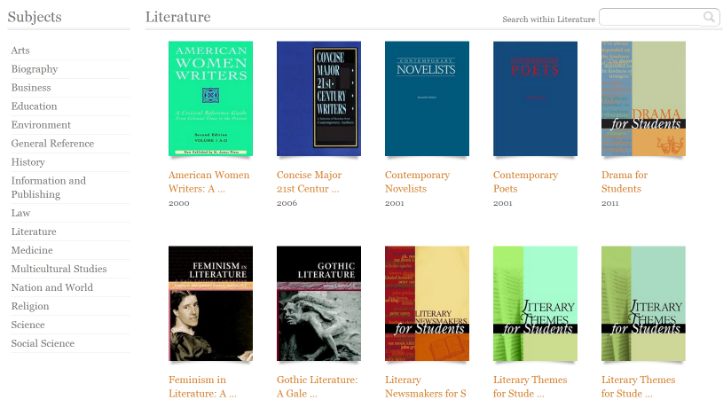 Literature titles in Gale Virtual Reference Library