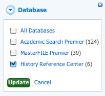 Refine results by Databases, check relevant boxes