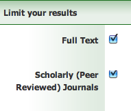 Limit your results: FUll Text and Scholarly (Peer Reviewed)
