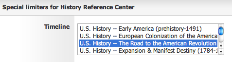 Special Limiters for History Reference Center