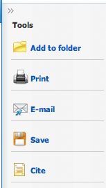 Tools image: add to folder, print, email, save, cite