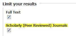 Scholarly Journal checkbox