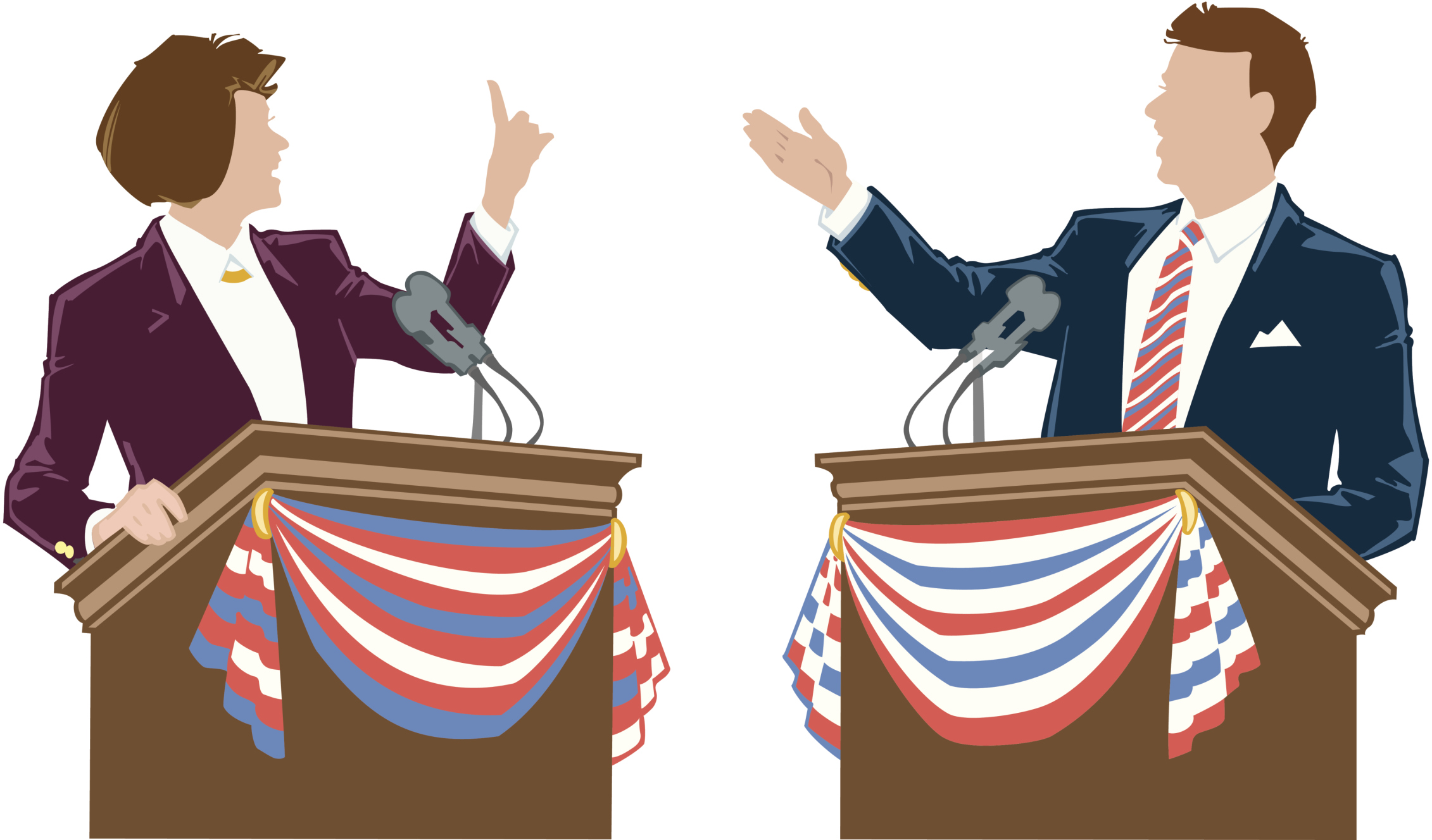 SPCH 103 Man woman at podiums Color Illustrator Ver. 3 ' Opposing candidates ' A friendly debate