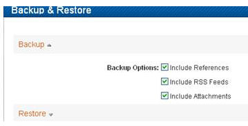 screen shot: backup and restore