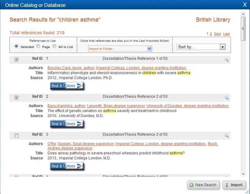 screen shot: online catalog or database