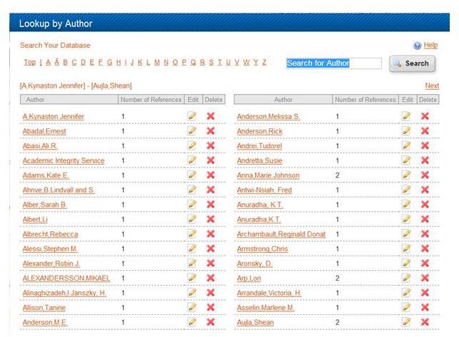 Author Look-up index