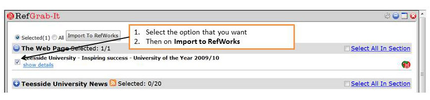 Selecting and importing
