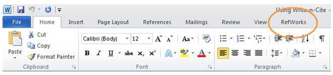 RefWorks on Word ribbon