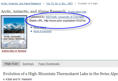 screenshot of JSTOR article with Stable Link circled
