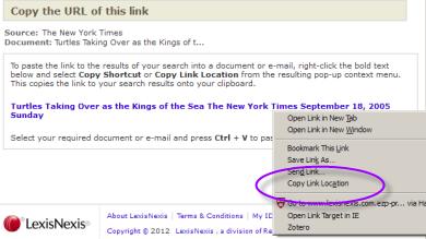screenshot of LexisNexis popup with link